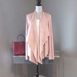 INC Pink Knit & Vegan Leather Flyaway Cardigan XL